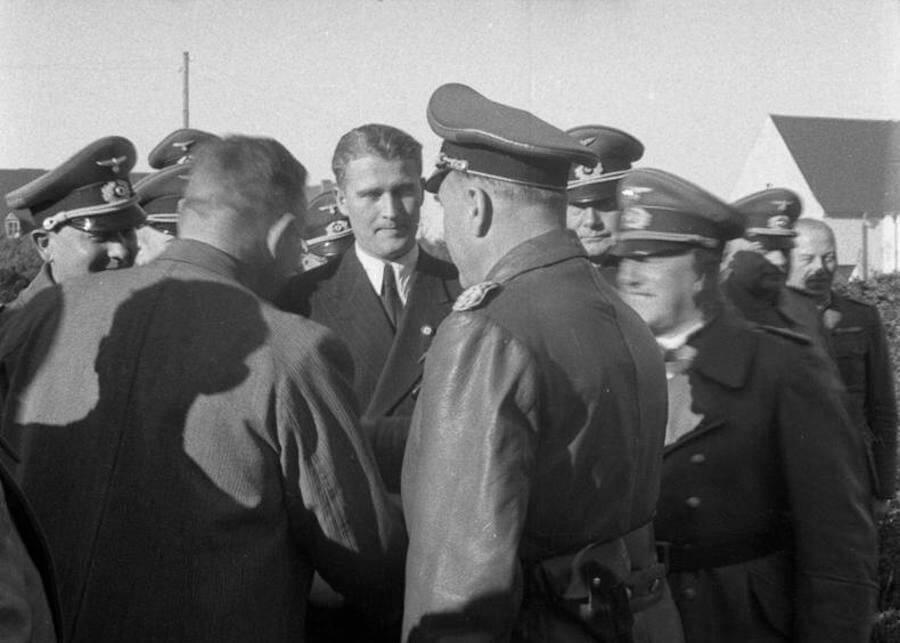 Nazi-turned-NASA scientist Wernher von Braun (center).