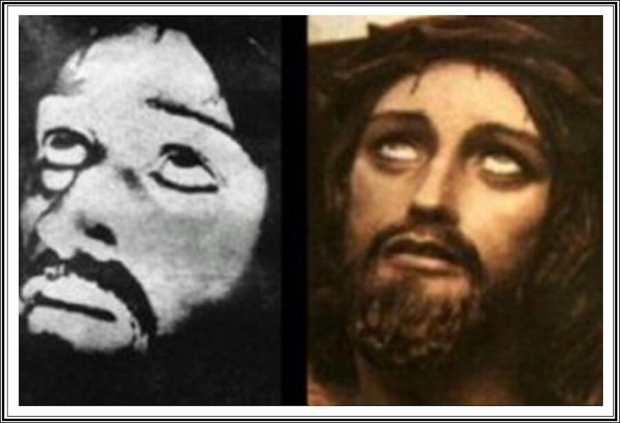 The purported photo of Jesus (left) and a curiously similar painting (right) created long before Ernetti released this image.