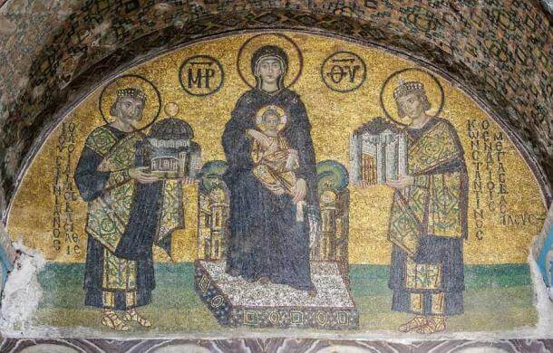 An especially impressive Byzantine mosaic in the Hagia Sophia church that eventually became an important mosque.