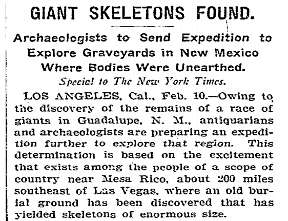 """Giant """"Skeletons of Enormous Size"""" Discovered In New Mexico – New York Times Article From 1902"""