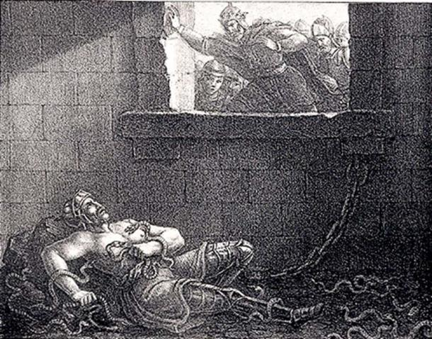Ragnar's execution by King Ælla in a pit of snakes. Etching by Hugo Hamilton.