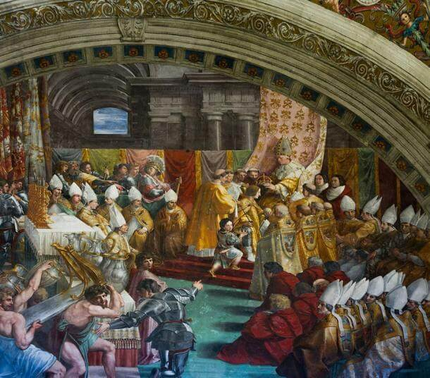 The coronation of Charlemagne by Raphael, c 1515.