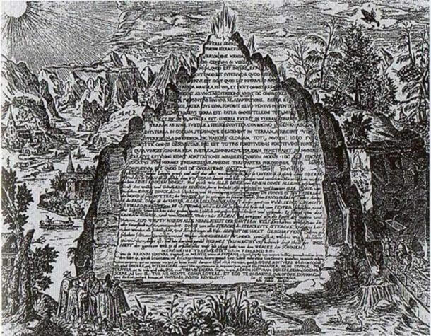 An imaginative 17th century depiction of the Emerald Tablet from the work of Heinrich Khunrath, 1606. ( Public Domain )