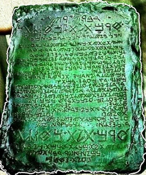 A reconstruction of what the Emerald Tablet is believed to have looked like.