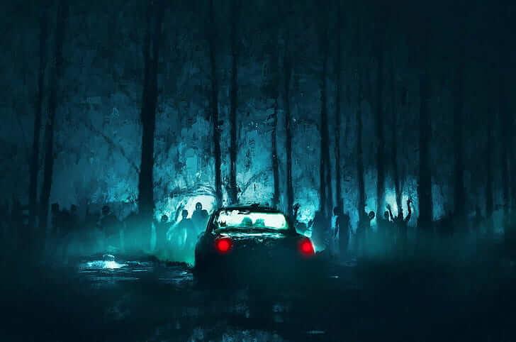 Car parked in dark forest