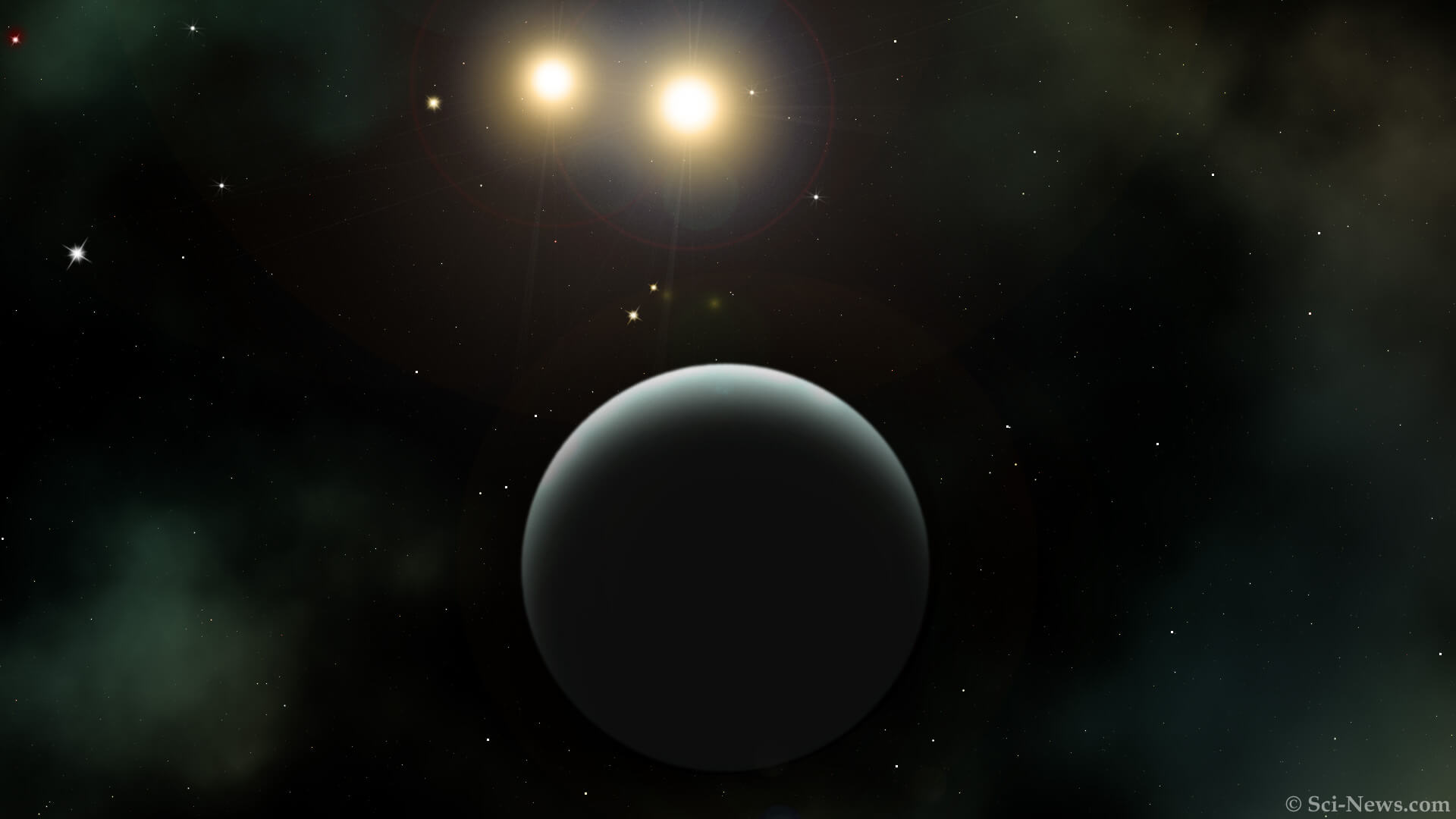 An artist's impression of TIC 172900988b and its two host stars. Photo Credit: Sci-News