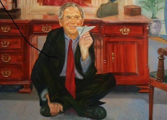 Painting of George Bush Playing Airplanes With Two Jenga Towers Found In Jeff Epstein's House