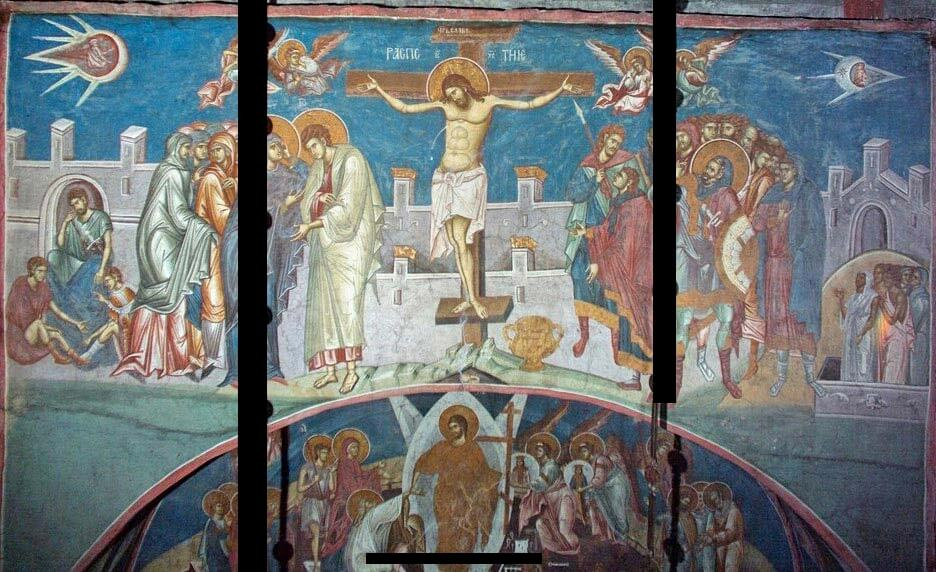 The painting Crucifixion of Christ is located at the Visoki Dečani Monastery. Image Credit: Wikimedia Commons.