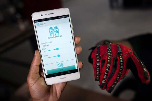 The Sign-IO app, which vocalises words signed by the person wearing the gloves. Photograph: Brett Eloff/Royal Academy of Engineering.