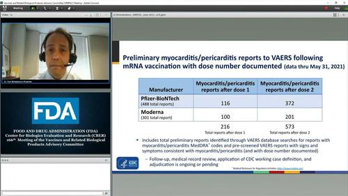 A slide on myocarditis reports post-COVID-19 vaccination is shown during the Food and Drug Administration's Vaccines and Related Biological Products Advisory Committee meeting on June 10, 2021. (FDA/Screenshot via The Epoch Times)