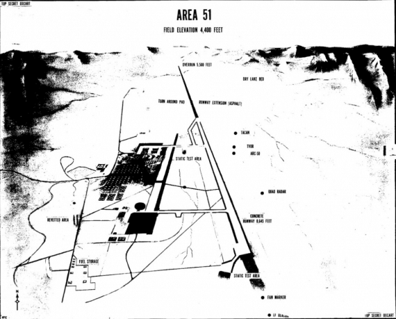 Area 51 site map, as depicted in declassified CIA documents released via its CREST program (Credit: CIA.gov/Wikimedia Commons).