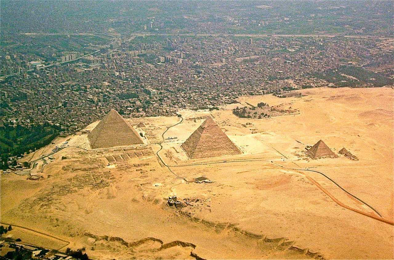 Aerial view of the Giza pyramid complex