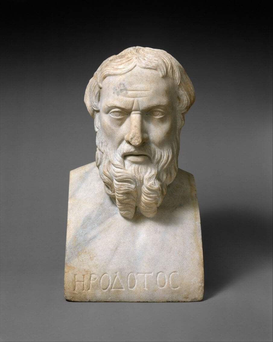 Herodotus of Halicarnassus (ca. 484-430 BCE). Herodotus wrote (Histories, Book, II, 148.) of the pyramids after his visit of the building in the fifth century Before Common Era.