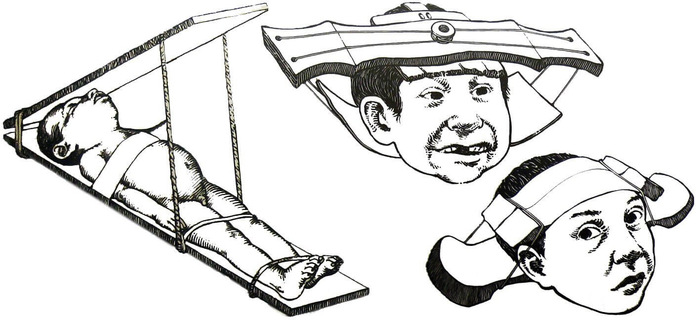 Three drawings of methods that were used by Maya peoples to shape a child's head.