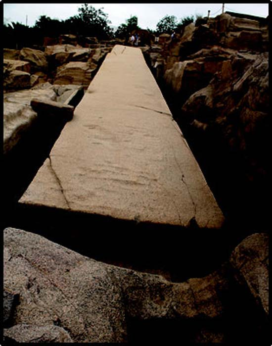 The large unfinished obelisk in the Aswan quarry.