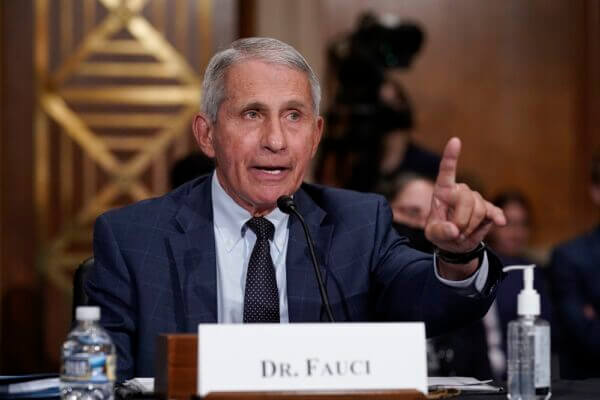 Dr. Anthony Fauci responds to accusations by Sen. Rand Paul (R-Ky.) as he testifies before the Senate Health, Education, Labour, and Pensions Committee, on Capitol Hill in Washington on July 20, 2021. (J. Scott Applewhite-Pool/Getty Images)