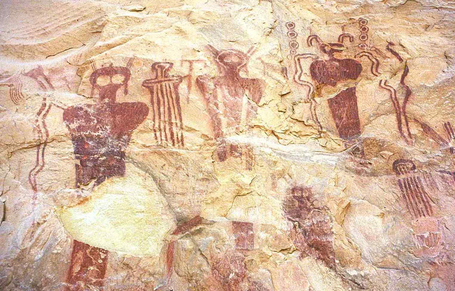 Visual Evidences of Higher Intelligence from Antiquity. we see strange shapes around them, these could depict something primitive man could not comprehend. Perhaps a UFO?